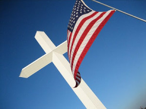 american flag with a white cross - Christian Nation